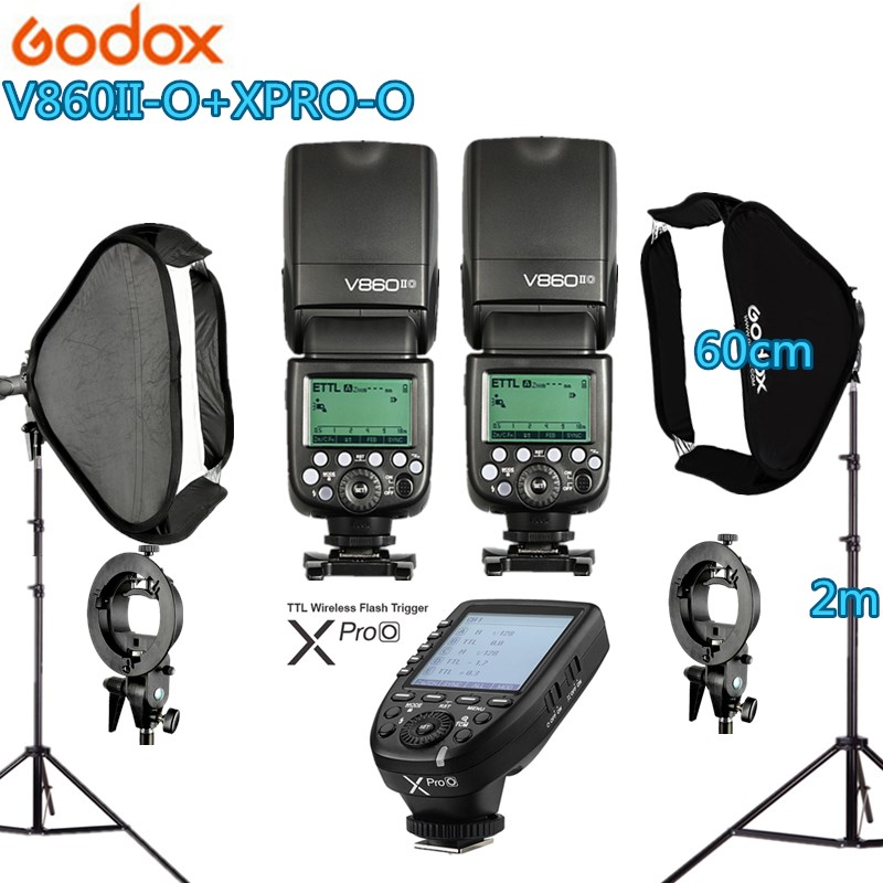 Photo Studio Kit 2X GODOX 60X60cm Folding Softbox S-type Handheld V860II-O Flash Speedlite + Xpro-O Trigger for Olymplus Camera софтбокс phottix deluxe kit 60x60cm 82532