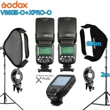 Photo Studio Kit 2X GODOX 60X60cm Folding Softbox S-type Handheld V860II-O Flash Speedlite + Xpro-O Trigger for Olymplus Camera godox 60x60cm photo studio softbox diffuser s type bracket bowens holder mount for canon nikon sony camera flash speedlite