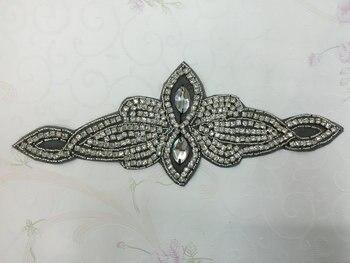 wholesale DHL FREE Iron on Rhinestone Crystal Wedding Bridal Craft DIY black mesh Applique Sash Dress Motif