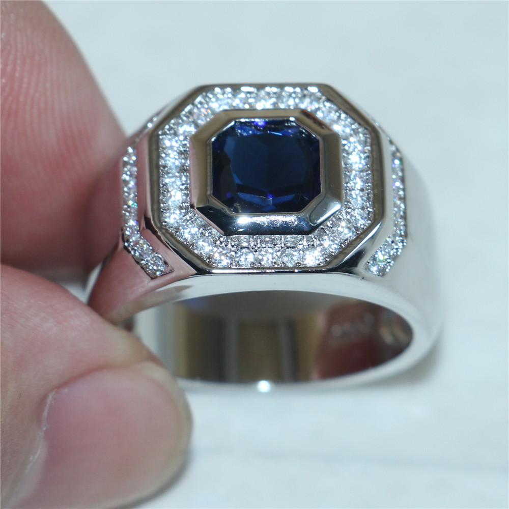 sapphire mens wedding band Sapphire Mens Wedding Band Ring Size 9 to 12 Product Image