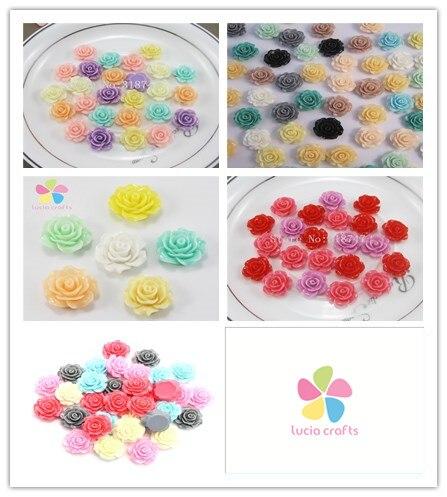 Lucia crafts 12pcs/24pcs Multi option Colorful Resin Flower Flatback Cabochon DIY Scrapbooking Handmade Accessories 21022012
