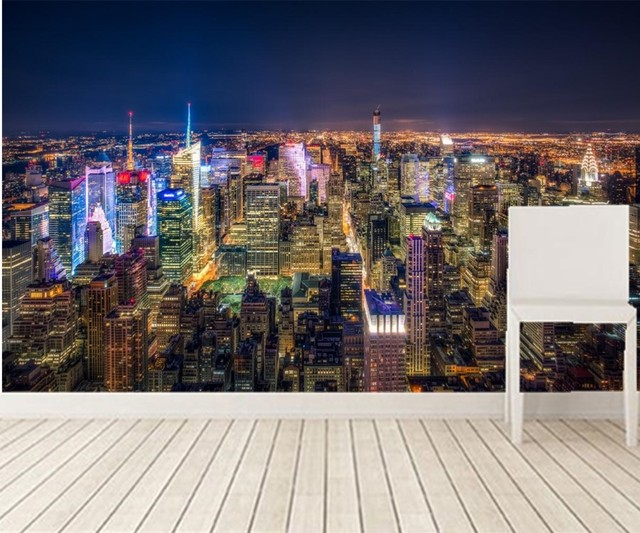 Custom 3d Murals,USA Skyscrapers New York City Megapolis Night Cities  Wallpapers,living Room