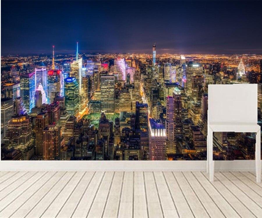 1192 55 De Réductionpersonnalisé 3d Peintures Murales Usa Gratte Ciel New York Ville Mégapolis Nuit Villes Fonds Décran Salon Tv Mur Chambre