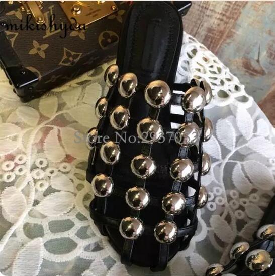 Cut Cage Chaussures Sandales Nouvelles Arrière 2 Piste Cuir D'été As Bride Casua Sur Noir Glisser Femmes Cloutés Amelia outs 42 En Show1 Pantoufle À Glissent Plat PU6Utq