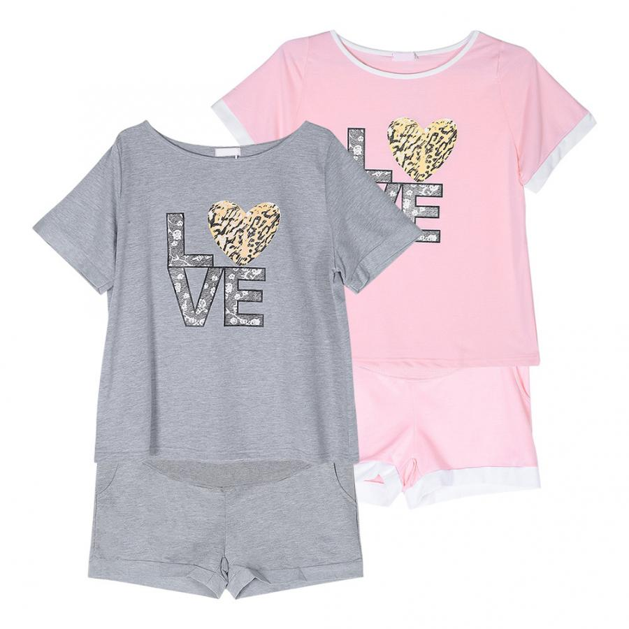 Summer Pregnant Women Sleep Lounge Clothes For Nursing Pajamas Cartoon Print Home Wear Suit Set T shirt pants Maternity Clothing