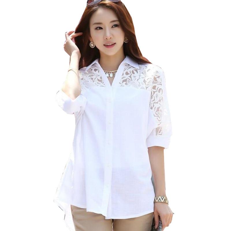 Plus Size Women Blouses White Cotton Lace Patchwork Turn-down Collar Half Sleeve Fashion Loose Long Tops Femme M-4XL Hot Sale blouse