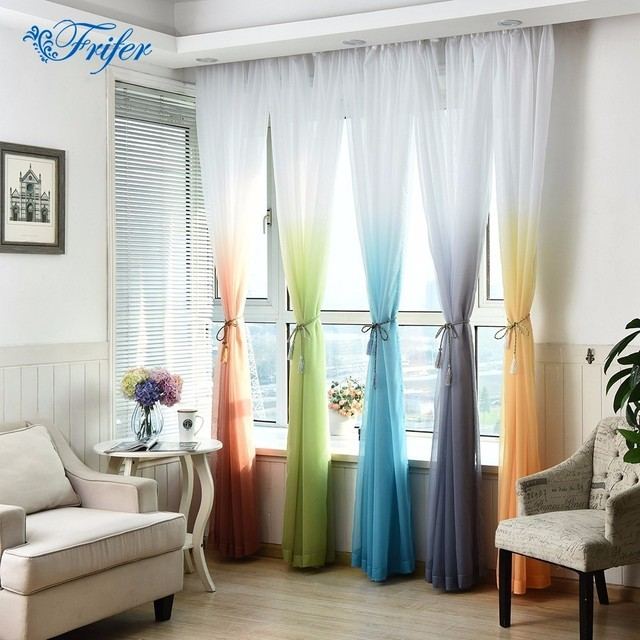 Gradient Window Screen Gauze Curtain Wedding Window Blinds Sheer Voile  Blackout Window Curtains For Living Room