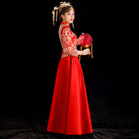 9f5df8771fce07 Bride Traditions Women Phoenix Embroidery Cheongsam Long Qipao Wedding Dress  Traditional Chinese Dresses China Clothing Store