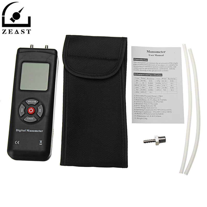 TL-102 Portable LCD Digital Manometer Differential Gauge Air Pressure Meter 10Psi Data Hold 11 Units with Backlight dual lcd digital piezometer with portable differential pressure gauge ht1890