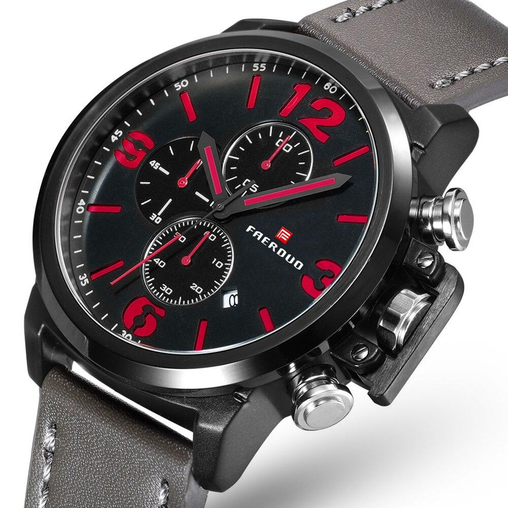 Черные, красные часы мужские s часы лучший бренд класса люкс мужские повседневные кожаные водонепроницаемые Хронограф Мужские Спортивные к