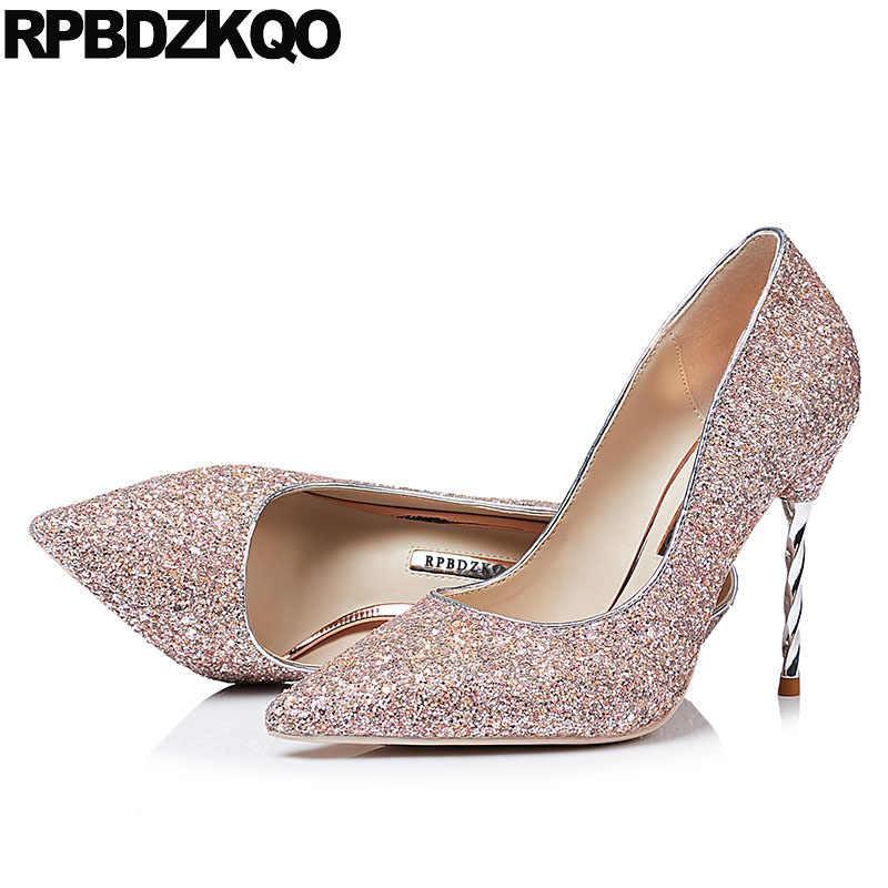 03fa9c0a7213 ... High Heels Silver Glitter Pumps Scarpin Big Size Black Bride Strange  Crystal Sparkling 10 42 Shoes ...
