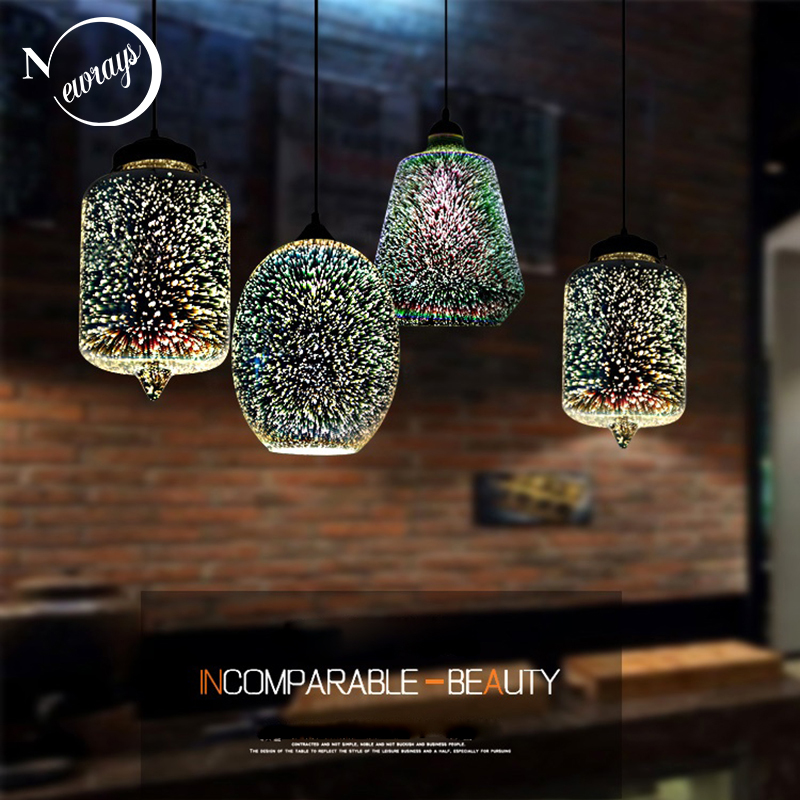 Modern 3D colorful romantic Starry sky hanging Glass shade Pendant Lamp Lights Fixture E27 for bedroom