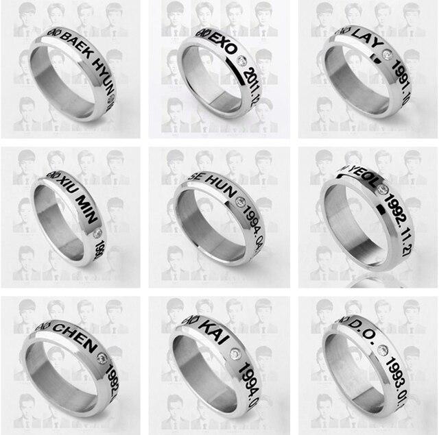 US $4 99 |Kpop exo birthday date titanium steel ring tail ring Infinity 8 5  size Send leather cord k pop exo men women Jewelry k pop Rings-in Rings