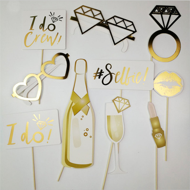 10pc gold paper hen party team bride wedding decoration to be 10pc gold paper hen party team bride wedding decoration to be photobooth mariage photo booth props junglespirit Images