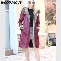 Women Genuine Leather Sheepskin Coat Real Leather Hood Jacket Natural Fur for Women Plus Size