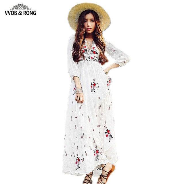 Вышивка С Длинным Рукавом Dress V-образным Вырезом Богемия Цветочные выдалбливают Печатных Длинными Dress Женщины Бальные Платья элегантный 2016 Новый