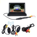 "Wireless 5"" Foldable Color LCD TFT Rear View Monitor Screen & Night Vision Rearview Backup Camera For Vehicle Car"