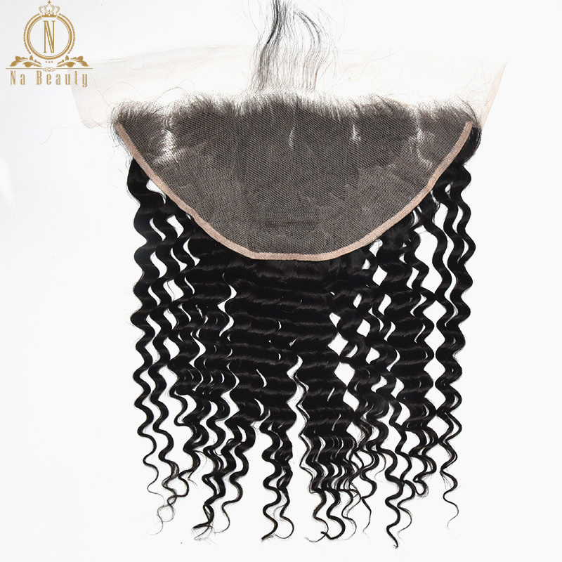 Perruque transparente Lace front wig Remy 13x6 | Lace Closure claire avec cheveux naturels brésiliens et Deep Wave sans oreilles couleur noire naturelle pour femmes