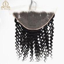 Encaje Frontal transparente para mujer, cabello humano brasileño Remy de 13x6, con cierre de encaje transparente, color negro Natural