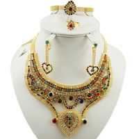 India design Big Nigerian Wedding African Beads Jewelry Sets Crystal Fashion Dubai Gold Jewelry Sets For Women Costume Design