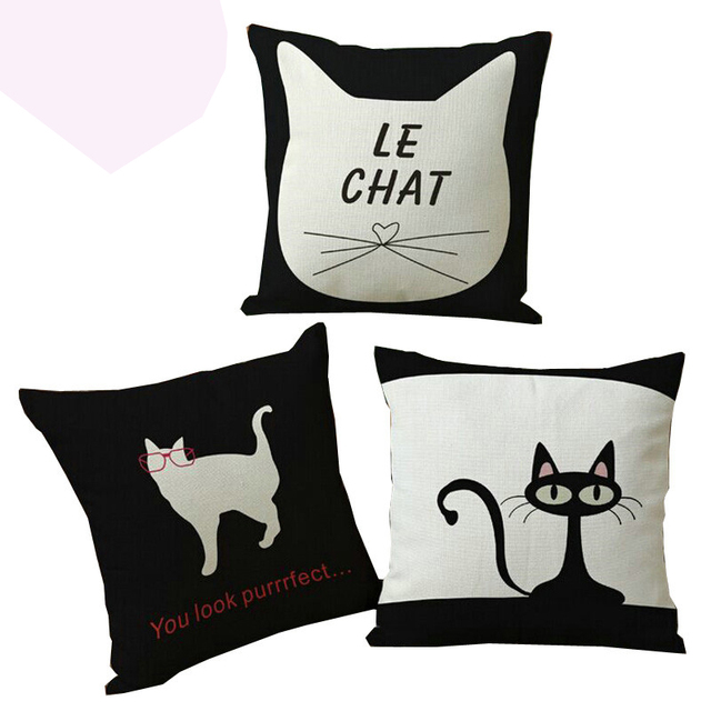Kiss Queen Decorative Cushion Cover Linen Cotton Fabric Throw Pillow Cat Print Case For Sofa Car Chairs Seat