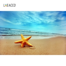 Laeacco Summer Seaside Starfish Conch Backdrop Photographic Vinyl Customized Backdrops Photography Backgrounds Photo Studio