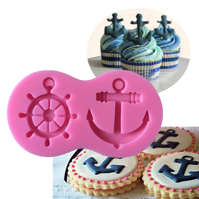 Molde silicona fondant timón y ancla para tortas decora pastel