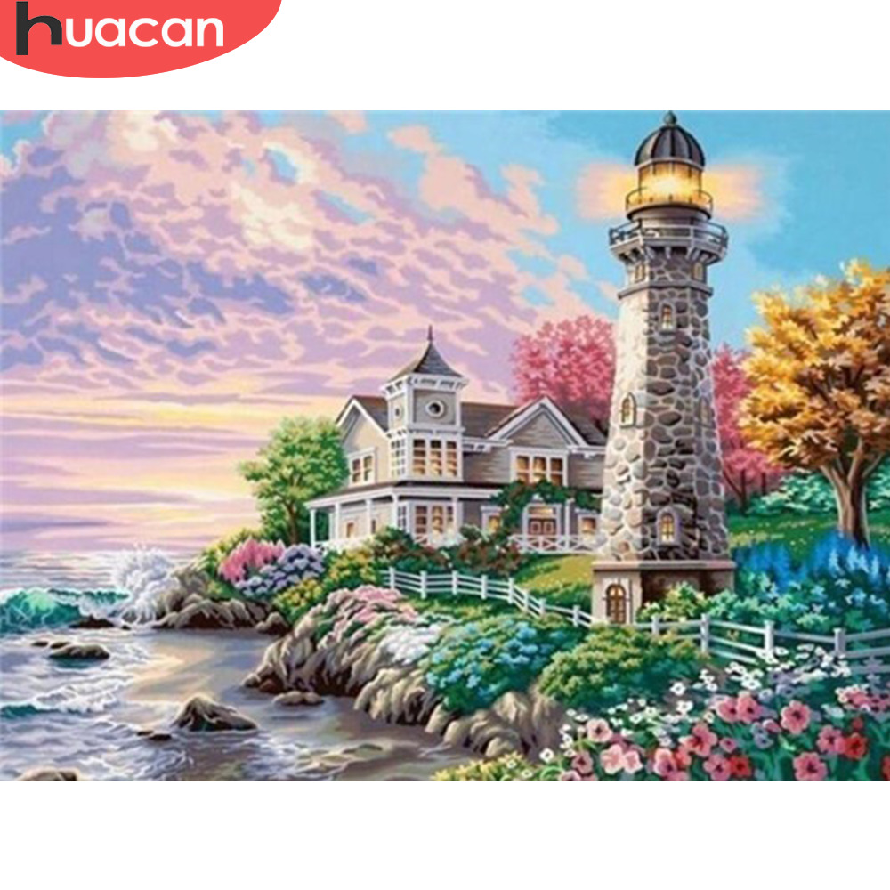 HUACAN Diamond Embroidery Landscape 5D DIY Diamond Painting Lighthouse Full Square Drill Seaside Picture Of Rhinestones in Diamond Painting Cross Stitch from Home Garden