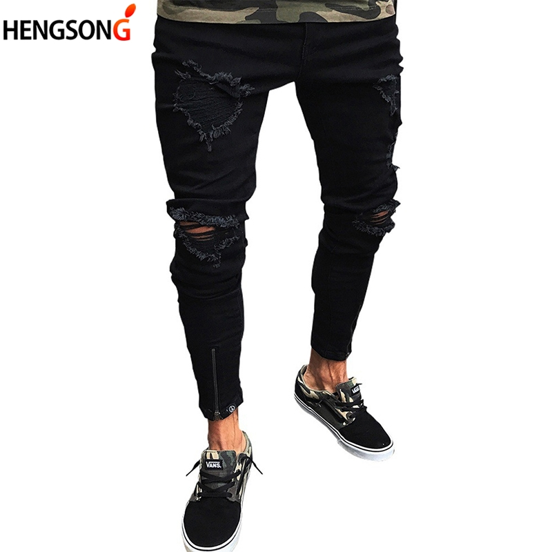 2018 New Men Shredded Skinny pants Knee Ripped Hole Destroyed Distressed Pencil Stretchy Men's Pants