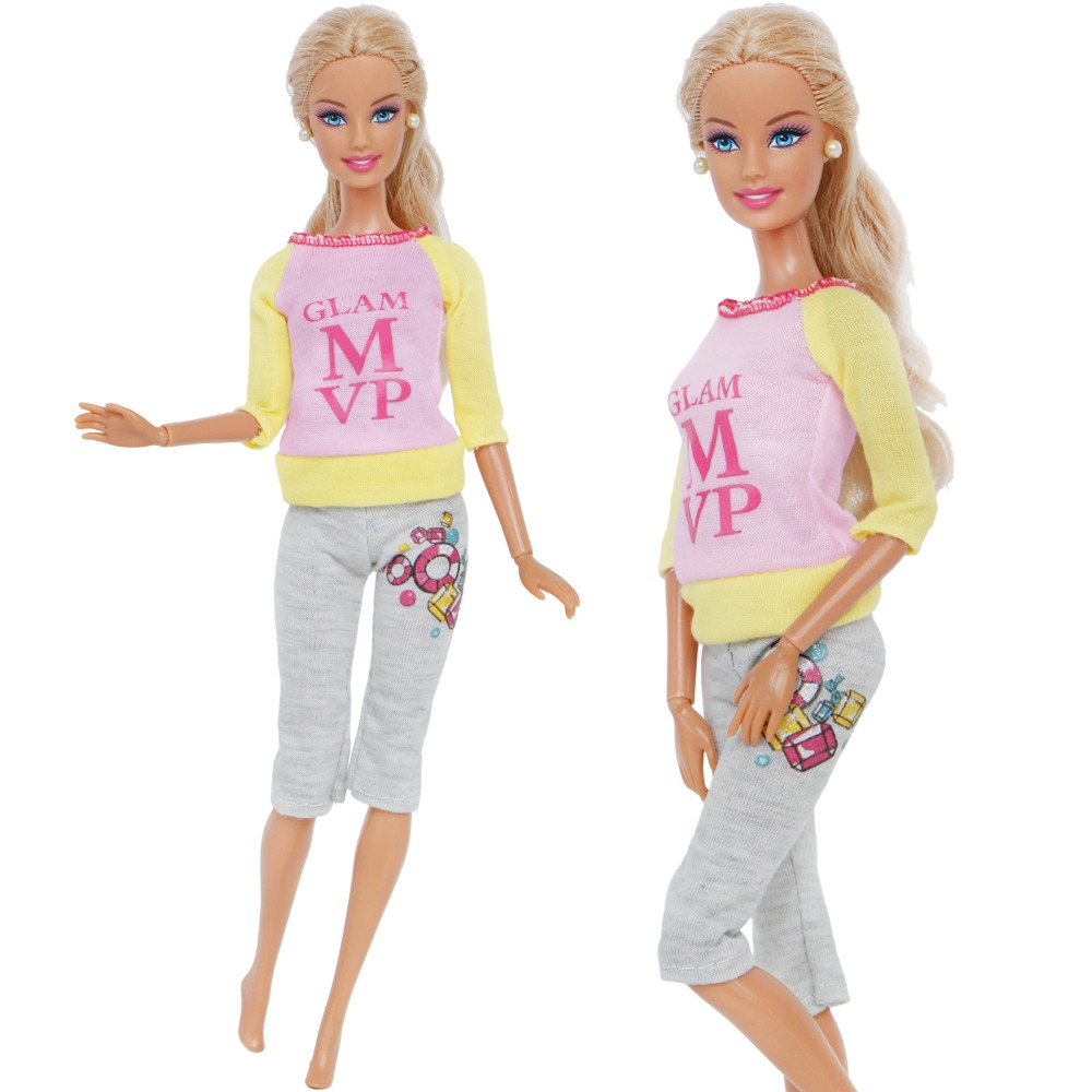 Modern Fashion Outfit Casual Daily Travel Dress Up Long Sleeve Shirt Pants Trousers Clothes For Barbie Doll Accessories Toy