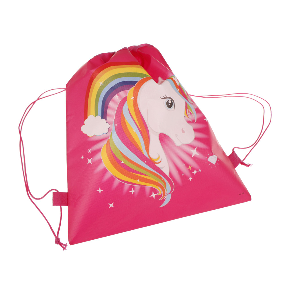 1PCS Kids Back Bags Gift Bag Supplies 35*28cm String Bags Cartoon Unicorn Theme Drawstring Bags
