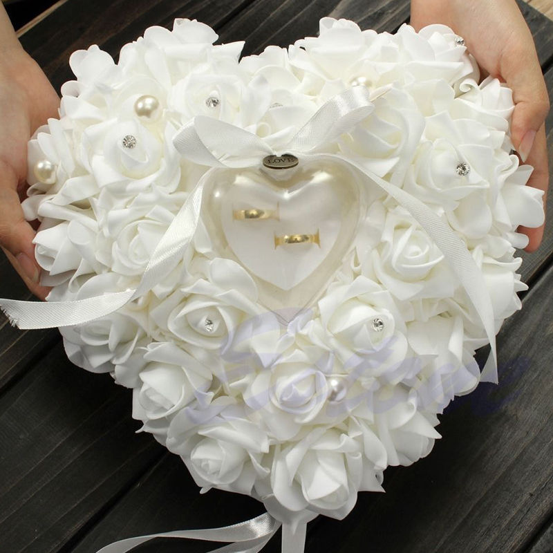 Romantic Rose Wedding Ceremony Favors Heart Shaped Pearl Gift Ring Box Ring Bearer Pillow Cushion