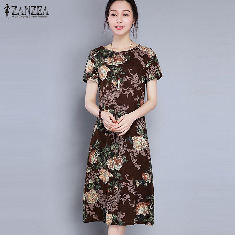 2017 New Cheap Plus Size Short Sleeves Vintage Medieval: ZANZEA Women 2018 Summer Mid Calf Dress Oversized Casual