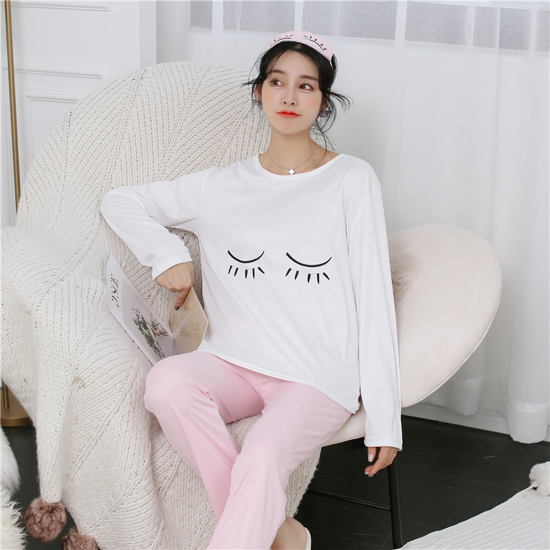 2019 Autumn Cotton Long Sleeve Pajamas Sets For Women Korean Sleepwear Suit Cute Girls Pyjama Homewear Pijama Mujer Home Clothes