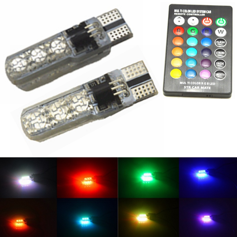 2PCS T10 COB RGB LED Multi Color Strobe Light Car Wedge Bulbs Remote Control