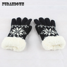 2017 New Winter Gloves Mittens For phone Women girls Warm Thick Fleece Wool Gloves Snowflake Knit Gloves