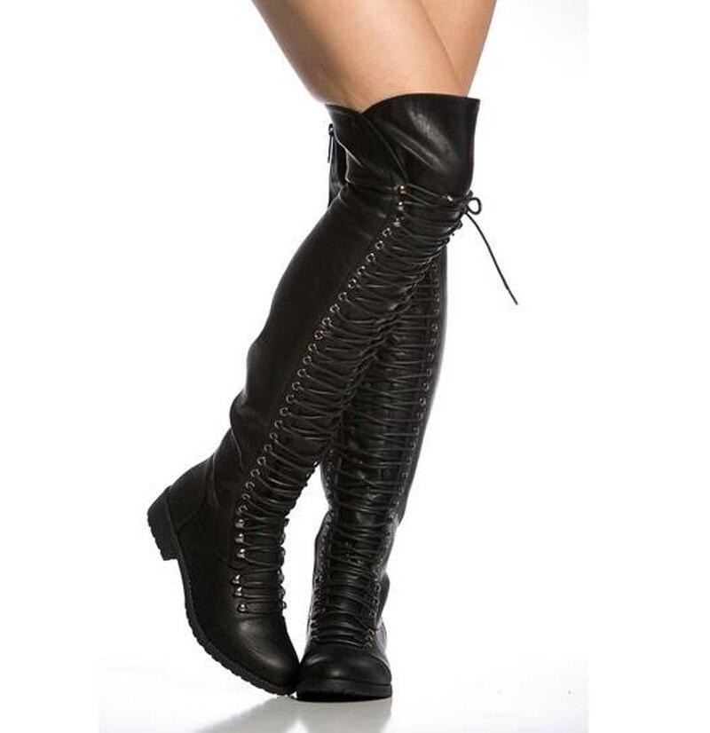 Femmes hiver nouveau mode bottes à lacets en cuir sur le genou bottes plates marron noir fermeture à glissière longue bottes de chevalier bottes chaudes de haute qualité - 4