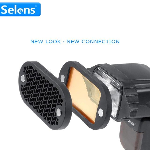 Selens Bảy Màu Speedlite Lọc Tổ Ong Lưới với Từ Ban Nhạc Cao Su cho Yongnuo Canon Nikon Phụ Kiện Đèn Flash Kit