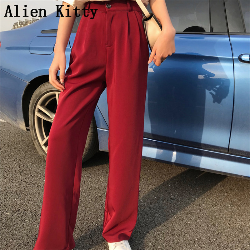 Alien Kitty 2019 New Fresh Elastic Solid High Waist Autumn Female Casual All-Match Loose   Wide     Leg     Pants   2 Colors Plus Size