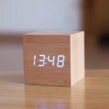 Cube wooden LED Alarm Clock,despertador Temperature Sounds Control LED display,electronic desktop Digital table clocks,SKU4A4A3