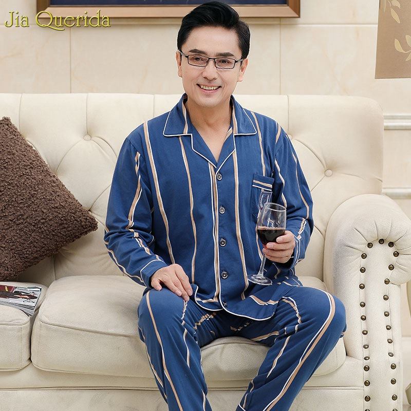 Sleep Suit Men Spring Autumn 100% Cotton High Quality Brand Pajama Set Men Long Sleeve Blue Color Stripe Sleepwear Pajama Male