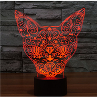 3D LED Night Lights Cat Front With 7 Colors Light For Home Decoration Lamp Amazing Visualization