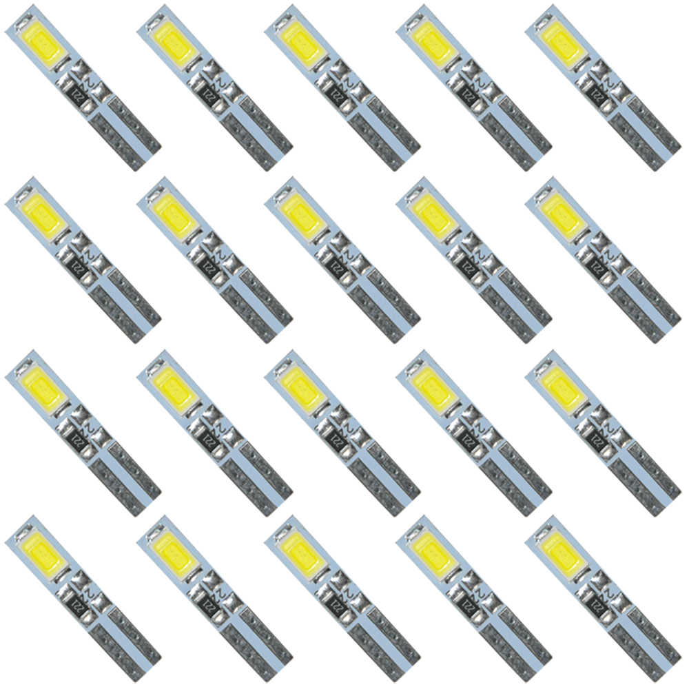 20PCS White 6000K 58 70 73 74 T5 Dashboard Gauge 2 5630/5730 SMD LED Wedge Bulb Light