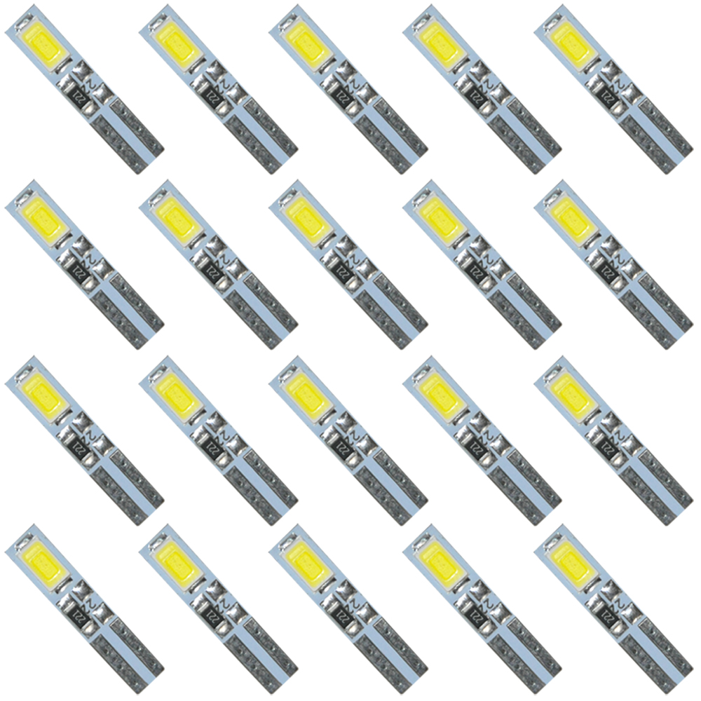 20PCS White 6000K 58 70 73 74 T5 Dashboard Gauge 2 5630/5730 SMD LED Wedge Bulb Light 10pcs t5 wedge 2 smd 5630 led dashboard instrument panel light 37 70 73 74 85 86 white warm white