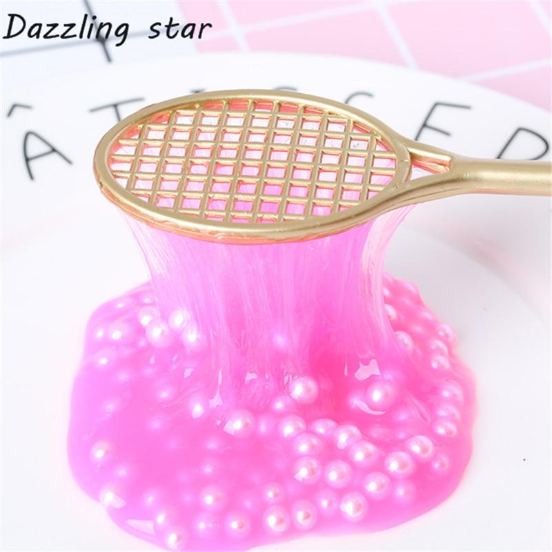Modeling Clay Dongzhur 1pc 19cm Diy Mini Pvc Grid Racket For Slime Badminton Racket For Kids Fluffy Crystal Slime Floam Cream Keyboard