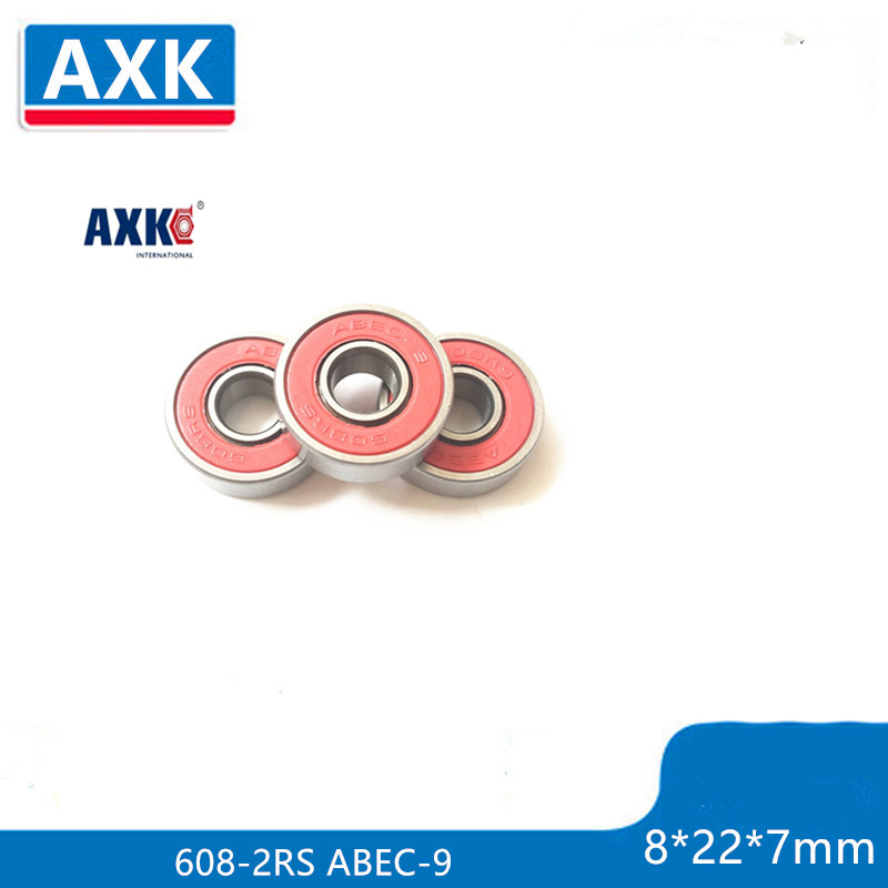 Free Shipping 10pcs 608-2RS 608RS 608 2RS ABEC-9 8 X 22 X7mm Red Double Rubber Sealing Cover Deep Groove Ball Bearing