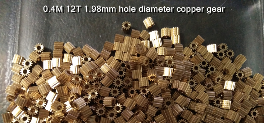 10X 0.4M 12T 1.98mm 1.5 Mm 2 Mm Shaft Hole Diameter Copper Gear
