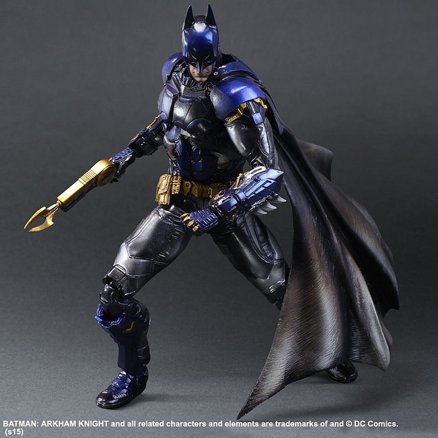 Batman Action Figure Playarts Kai Anime Toy Movie Bat man Arkham Blue Ver.Play Arts Kai 270mm Collection Model