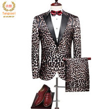 2018 Men Wedding Suits Slim Fit Men's Leopard Suit Luxury Brand Suit For Man High Quality Mens(China)