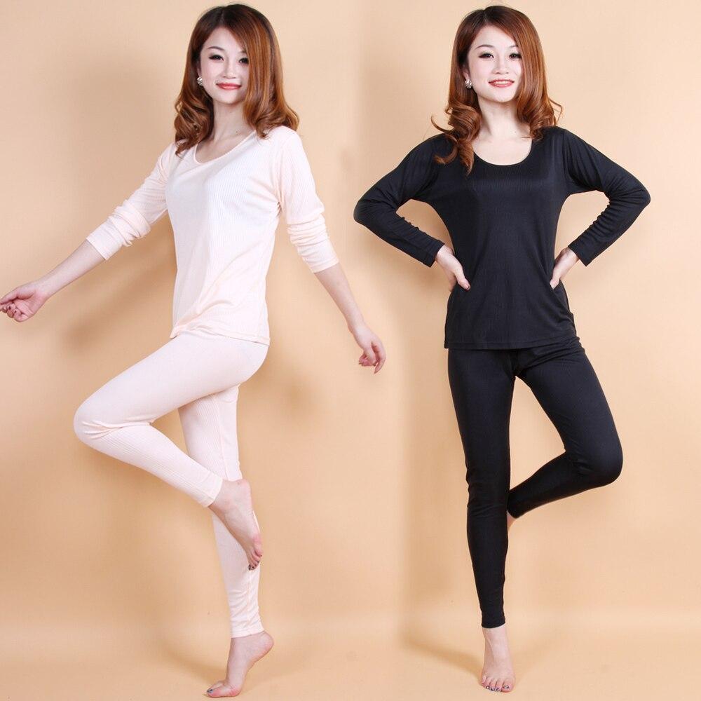 150 г женский Шелковый комплект нижнего белья 100% шелковая нить тепловой набор с длинным рукавом штаны дома пижамы